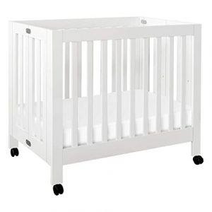 Babyletto Origami Mini Portable Crib with Wheels in White