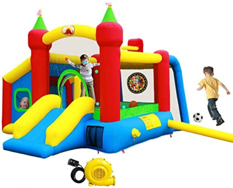 4 Inflatable Bounce House,Jumping Castle Slide with Blower