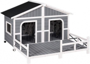 PawHut Wood Large Dog House with Porch Deck